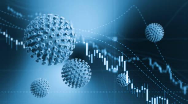 Blue Viruses over Financial Bar Graph - COVID-19 Börsen- und Finanzkonzept – Foto