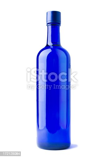 Put any label you like on this blue bottle. Isolated on white
