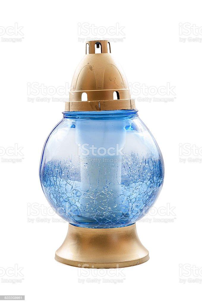 Blue votive candle on white background stock photo