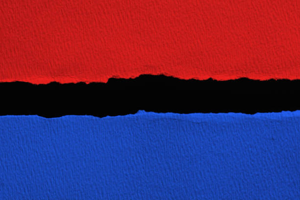 blue vs red torn paper with black  space for text - республиканская партия сша стоковые фото и изображения