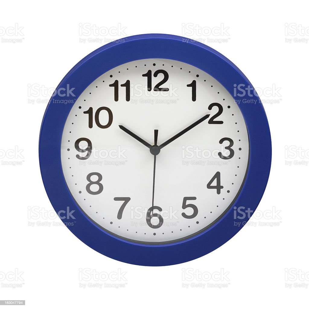 Blue wall clock which says ten past ten, white background stock photo