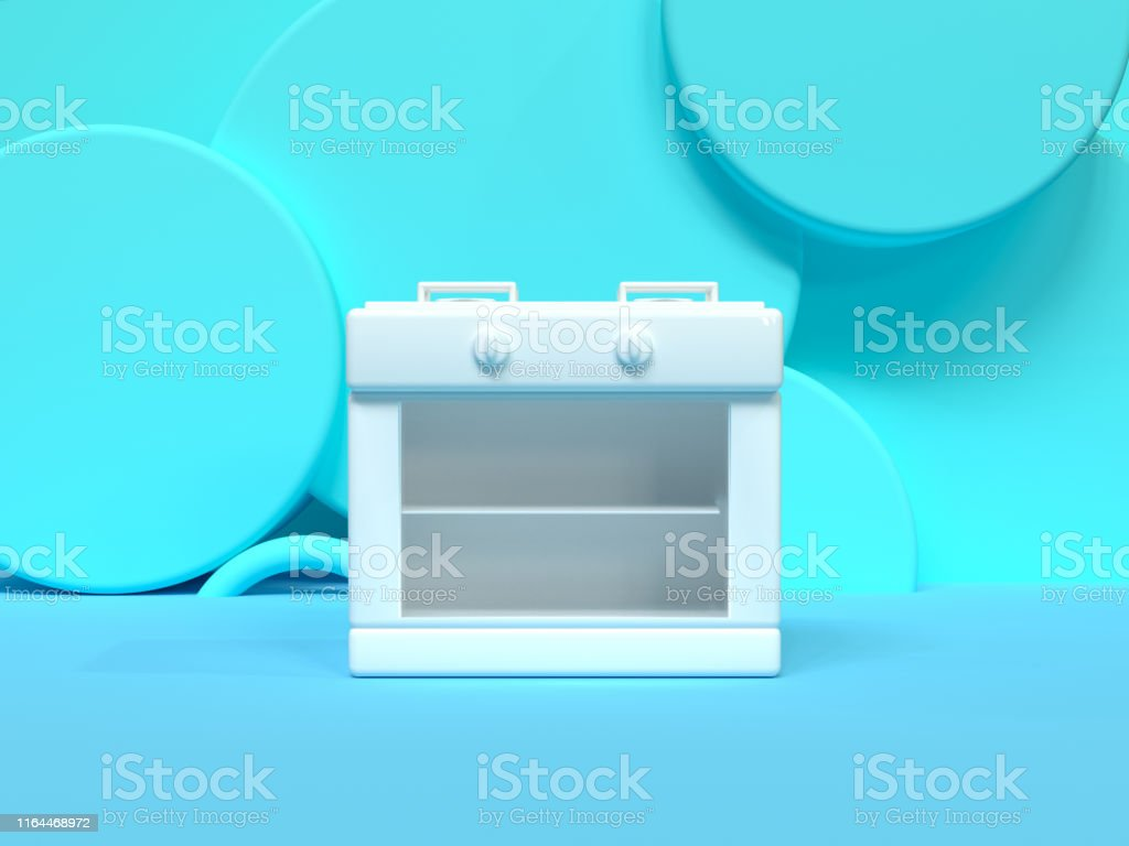 blue wall floor white object furniture kitchen concept 3d rendering