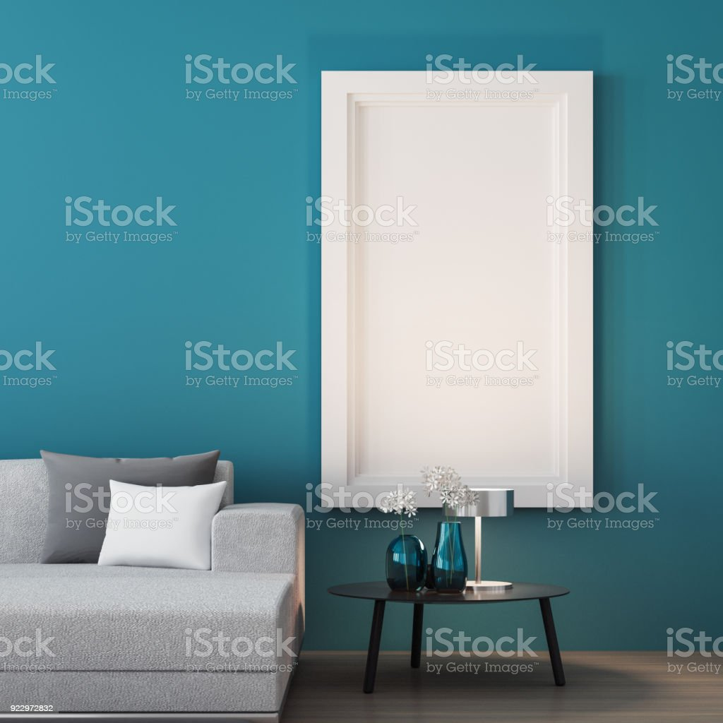 Blue wall living room / 3D render interior stock photo