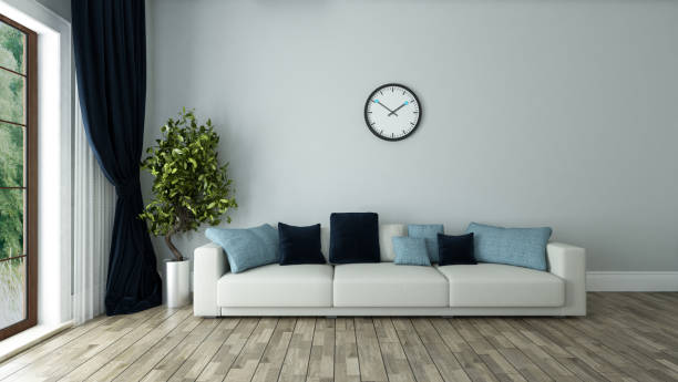 blue wall living room interior design stock photo