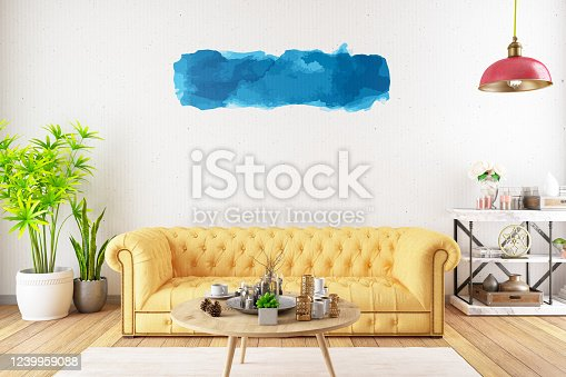 902720222 istock photo Blue Wall Paint Label on Modern Living Room's Wall 1239959088