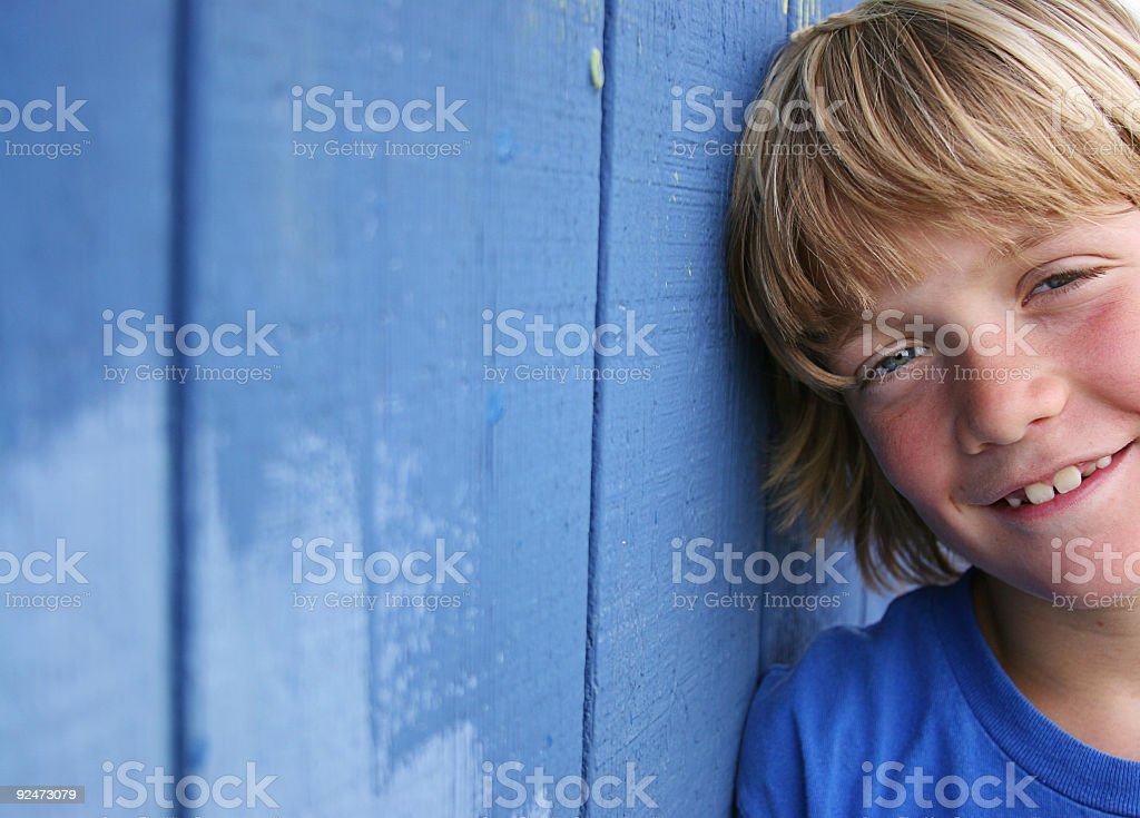 Blue Wall Smile royalty-free stock photo