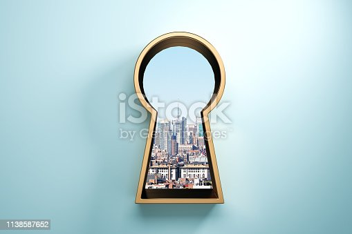 Blue wall with golden keyhole window and city view. Access and success concept. 3D Rendering