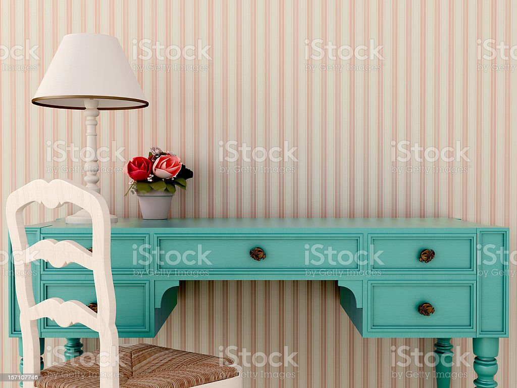 Blue wark table and chair royalty-free stock photo