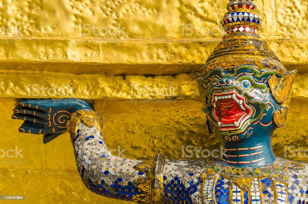 Blue warrior at Emerald Buddha Temple, Thailand stock photo