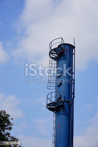 Blue watchtower against on blue sky background