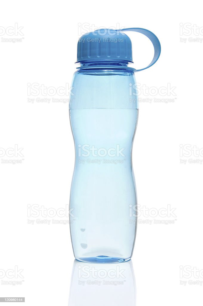 A blue water bottle filled with water stock photo