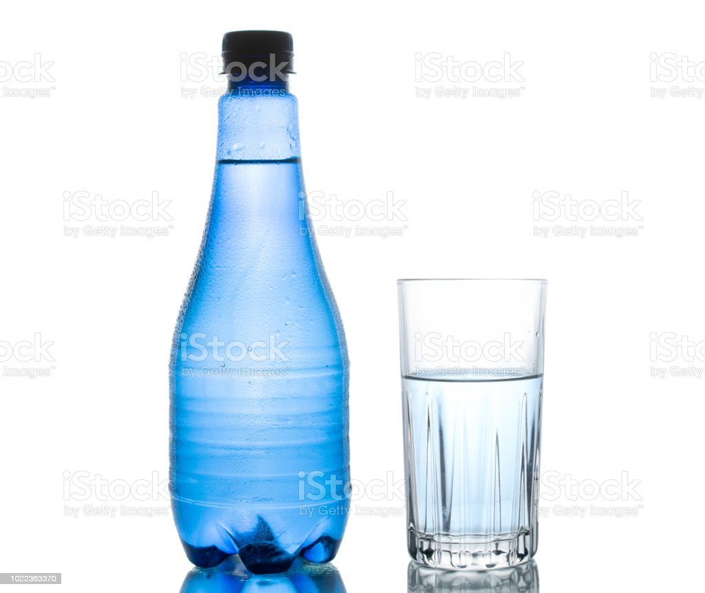 blue water bottle isolated on white background with small water