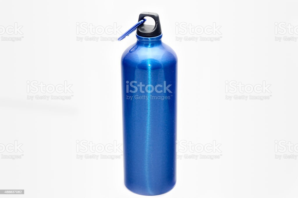 Blue water bottle stock photo
