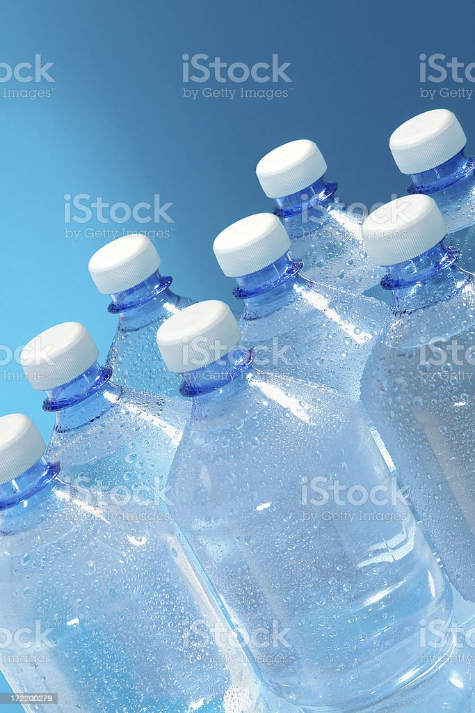Blue Water Bottles royalty-free stock photo