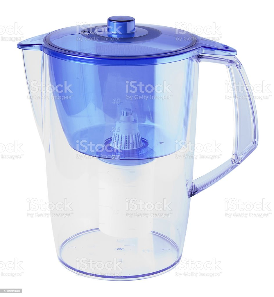 Blue water filter isolated on white with clipping path stock photo