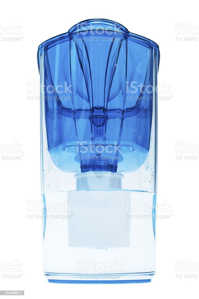 blue water filter stock photo