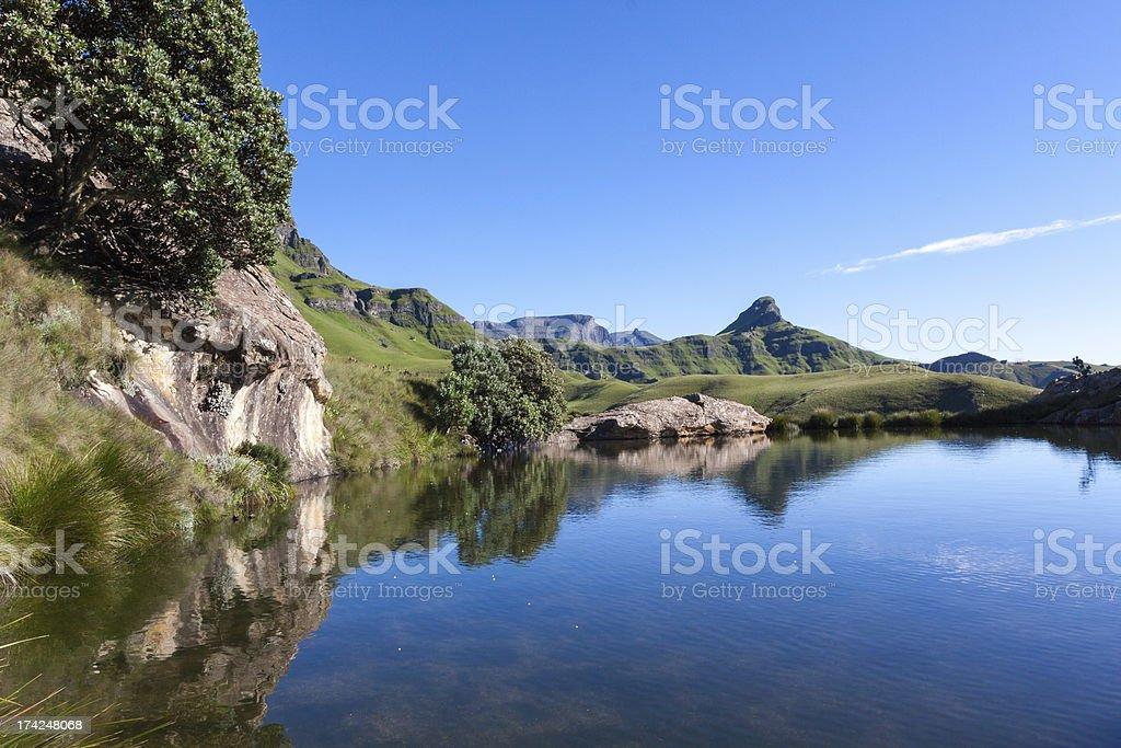 Blue water pool in the Maluti's stock photo