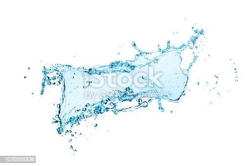 istock blue water splash isolated on white background 1020555336