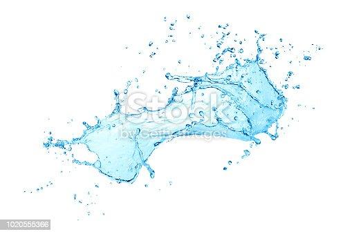 istock blue water splash isolated on white background 1020555366