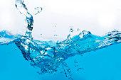 istock Blue water splash isolated on white background 1280081269