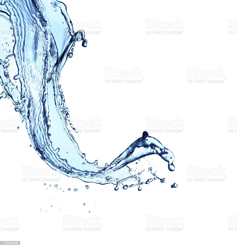 Blue water splash aislado sobre fondo blanco - foto de stock