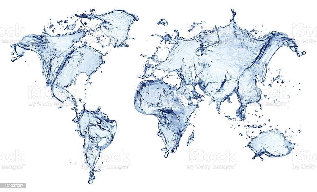 blue water splash (world map) isolated stock photo