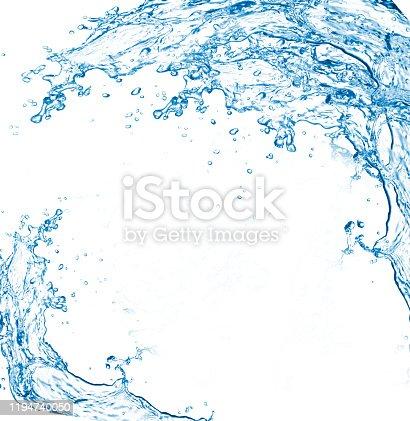 istock Blue water splashes over white background. 3D illustration 1194740050