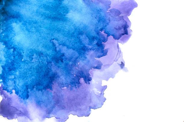 abstrait aquarelle bleu  - aquarelle sur papier photos et images de collection