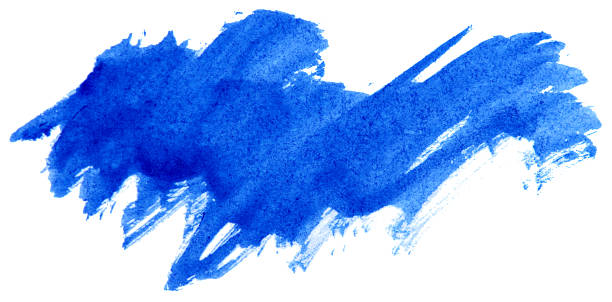 Blue watercolor abstract paint stroke stock photo