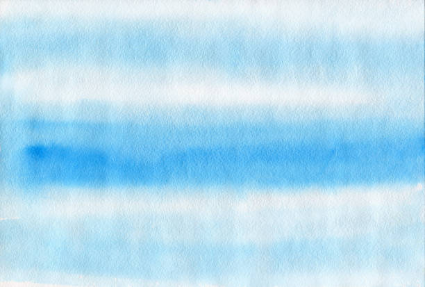 Blue watercolor abstract paint texture. Raster stripes background. Hand drawn ink illustration. stock photo