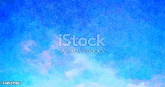 852187968 istock photo Blue Watercolor abstract painting of sunset sky with pink 1145062076