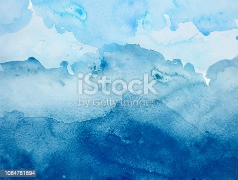 911585920 istock photo Blue watercolor background - abstract ocean and waves 1084781894