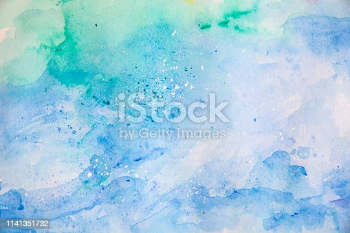 911585920 istock photo Blue watercolor background - abstract ocean and waves 1141351732