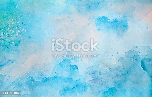 911585920 istock photo Blue watercolor background - abstract ocean and waves 1141821863