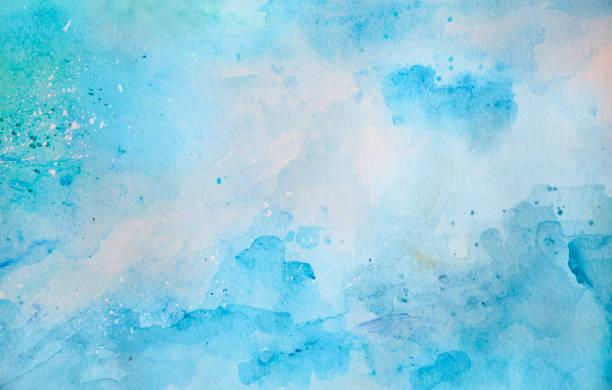 Blauer Aquarellhintergrund-abstraktes Meer und Wellen – Foto