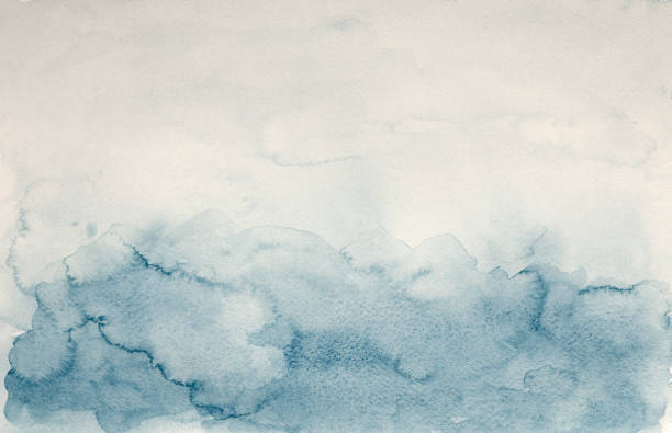 Blue watercolor background - abstract ocean and waves stock photo