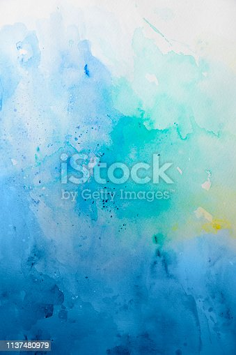 911585920 istock photo Blue watercolor background - abstract ocean 1137480979