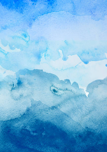 Blaue Aquarell Hintergrund - abstrakte Ozean – Foto