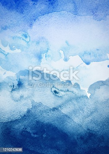 911585920 istock photo Blue watercolor background - abstract ocean 1210242636