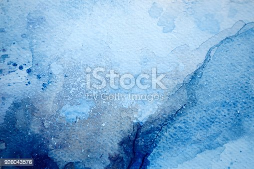 istock Blue watercolor background - abstract ocean 926043576