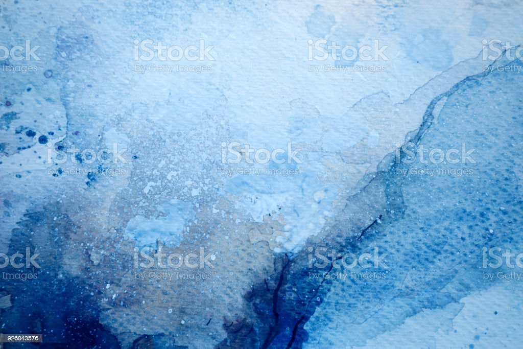 Blue watercolor background - abstract ocean stock photo