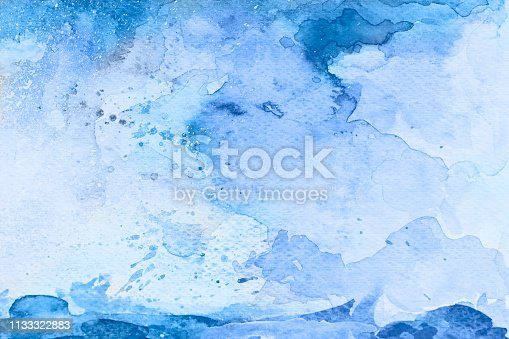 911585920 istock photo Blue watercolor background - abstract ocean, waves and sky 1133322883