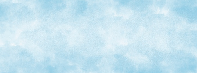 light blue watercolor background hand-drawn soft lightand with copy space for text or image.