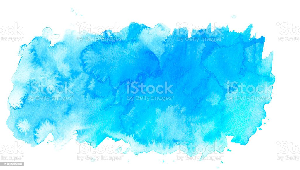 Blue watercolor background on white stock photo