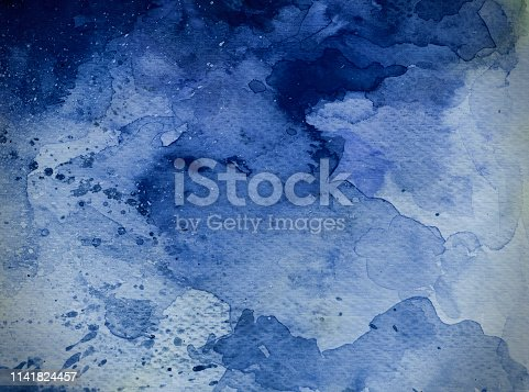 istock Blue watercolor background 1141824457