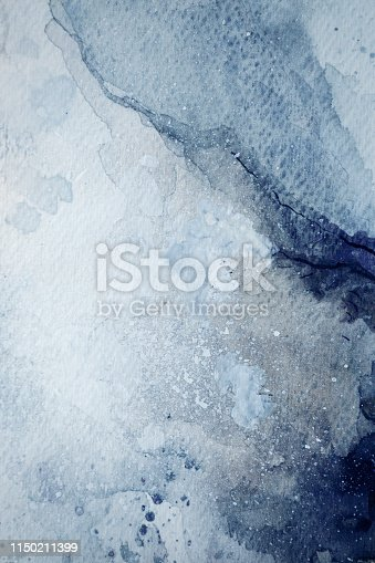 istock Blue watercolor background 1150211399