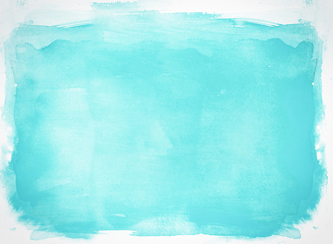 Blue watercolor background hand colored with layers on white watercolor paper. My own work.