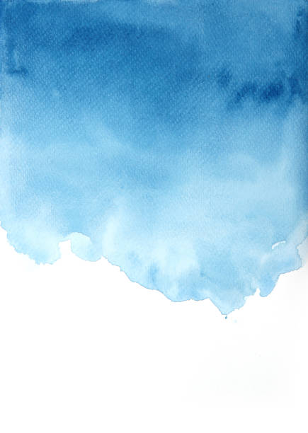 blue watercolor background, textures backgrounds - watercolor painting stock pictures, royalty-free photos & images
