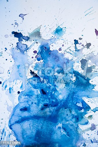istock Blue watercolor background-water and splashes 1173217024