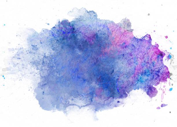 blob aquarelle bleue - aquarelle sur papier photos et images de collection